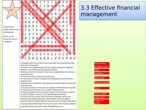 Edexcel GCSE Business Studies topic 3.3 key words wordsearch