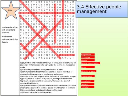 Edexcel GCSE Business Studies topic 3.4 key words wordsearch