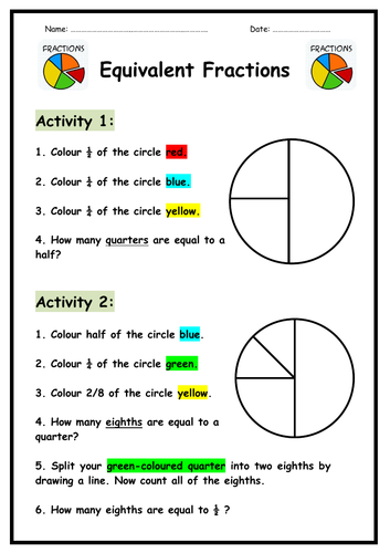 Equivalent Fractions Worksheets by Teach4Uresources ...