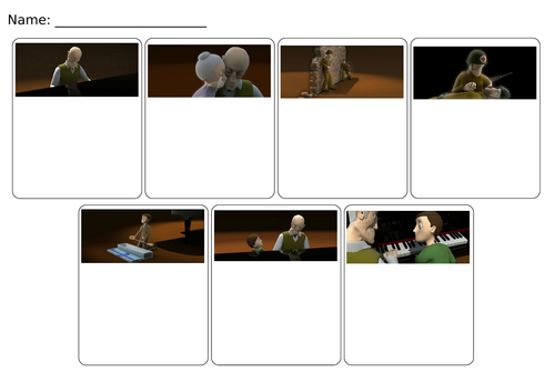 Sequencing/Storyboard for 'The Piano' Literacy link, story mountain.