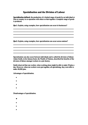 Specialisation and Division of Labour worksheet