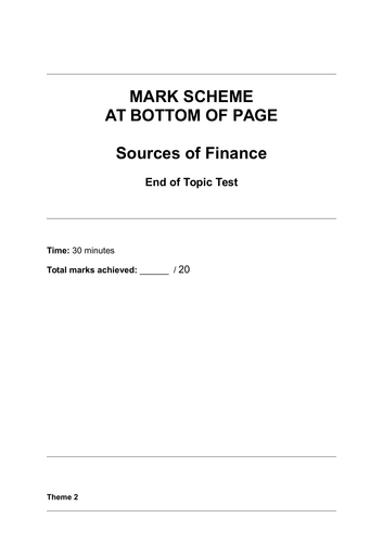 Sources of Finance - End of Topic Test - A Level Edexcel Theme 2 - OCR - AQA - GCSE