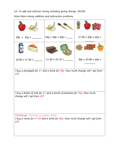 Year 3 To Add And Subtract Money Including Giving Change