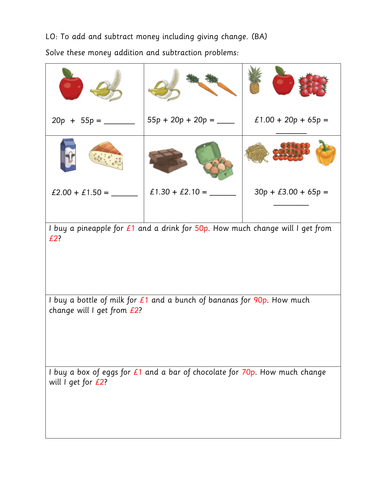 Year 3 - To add and subtract money including giving change (LA)