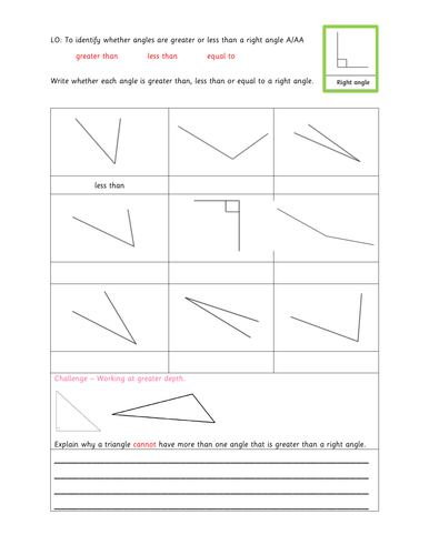Year 3 - Greater than less than a right angle differentiated assessment
