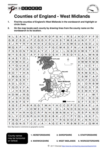 Counties of England's West Midlands - word search and mapping exercise