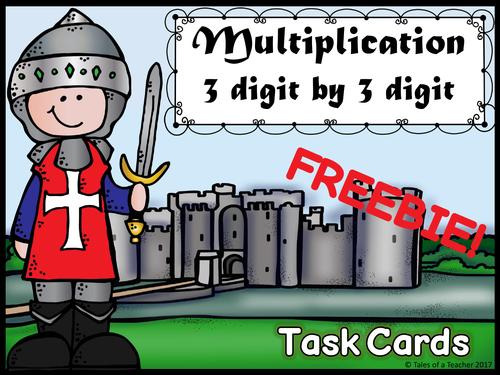 Multiplication 3 digit by 3 digit Task Cards