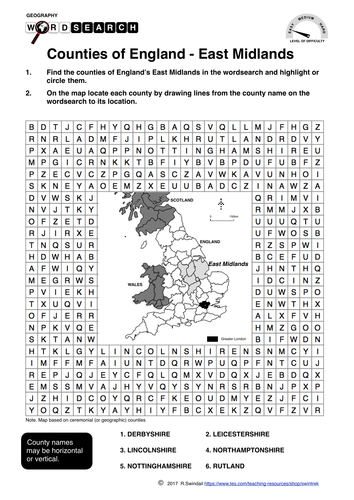 Counties of England: East Midlands - word search and mapping exercise