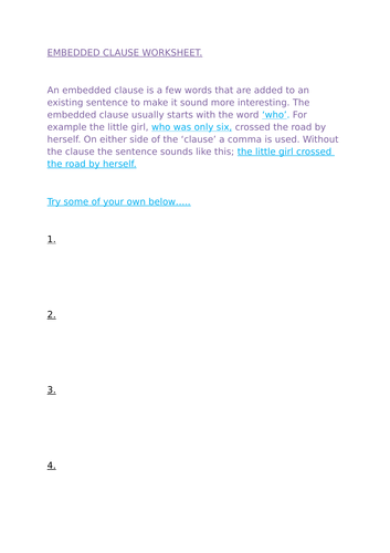 Embedded and subordinate clause worksheet.