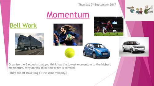 GCSE Physics Momentum Full Lesson (includes exam questions, reviews, bell work etc.)