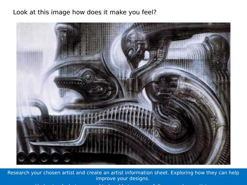 AQA KS4 Art Three dimensional Design Science Fiction Artists Lesson.