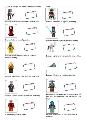 Star Wars themed KS2 Writing Teacher Assessment Record Sheet - Working Towards the Standard.