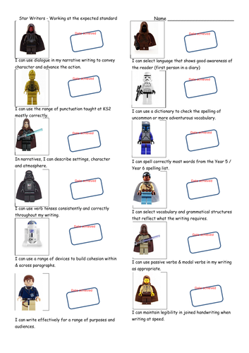Star Wars themed KS2 Writing Teacher Assessment Record Sheet - Working at the Expected Standard.