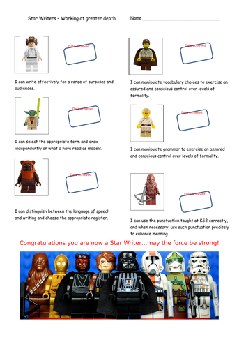 Star Wars themed KS2 Writing Teacher Assessment Record Sheet - Working at Greater Depth.