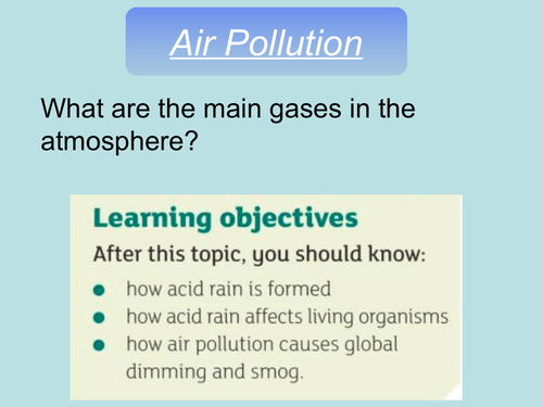 AQA GCSE biology air pollution (ecology unit) complete lesson