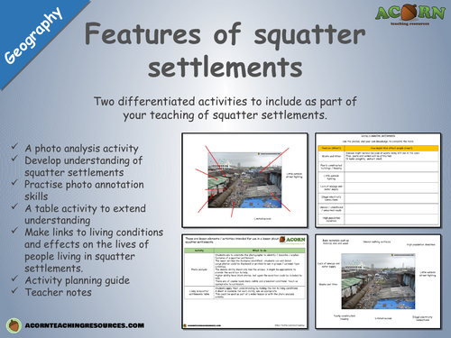 Features of squatter settlements - differentiated activities
