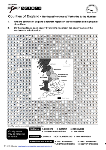Counties of England's north - wordsearch and mapping exercise