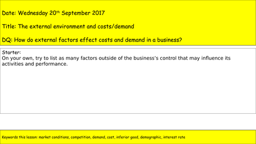 AQA A Level Business - Unit 1 - Businesses and the External Environment