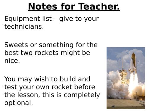Making rockets - student experiment, balloon rockets, engineering process, design, build, test. Fun.