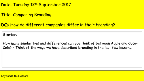 Level 2 BTEC Business - Unit 3 - Promoting a Brand - Scheme of Work for Learning Aim A