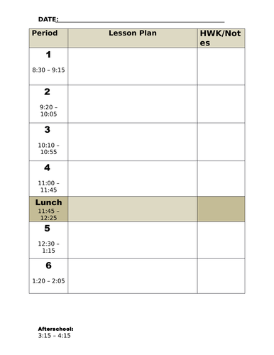 7 Period Teachers Planner Page