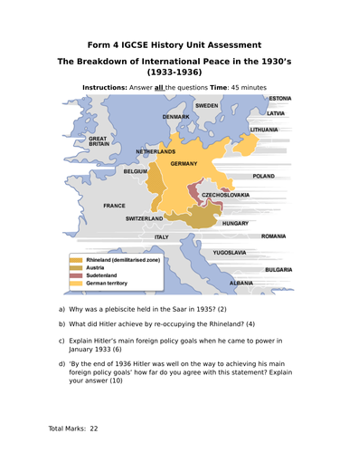 IGCSE/GCSE Unit Assessment (Paper 1 style) Hitler Foreign Policy 1933 - 1936