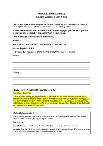 Crime & Punishment Edexcel  GCSE  Exam Help Booklet
