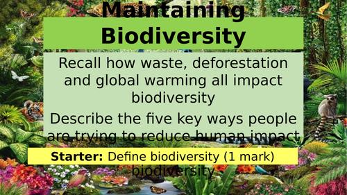 AQA GCSE Biology B7 Maintaining Biodiversity