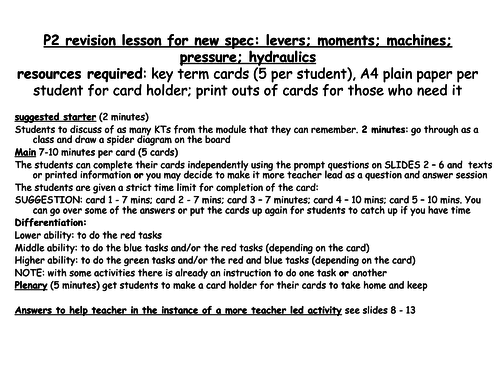 KS3 new spec revision lesson for levers, machines, moments, pressure and hydraulics