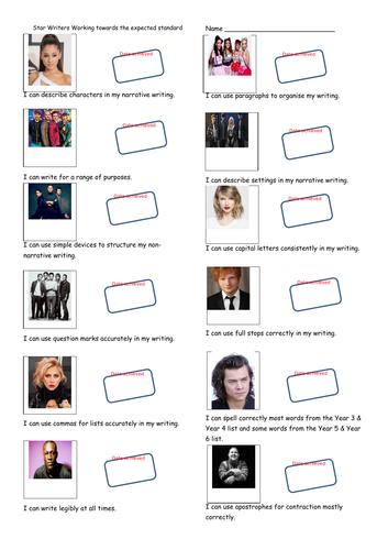 Pop Stars themed KS2 Writing Teacher Assessment Record Sheet - Working Towards the Standard.