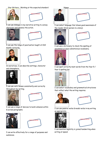 Pop Stars themed KS2 Writing Teacher Assessment Record Sheet - Working at the Expected Standard.