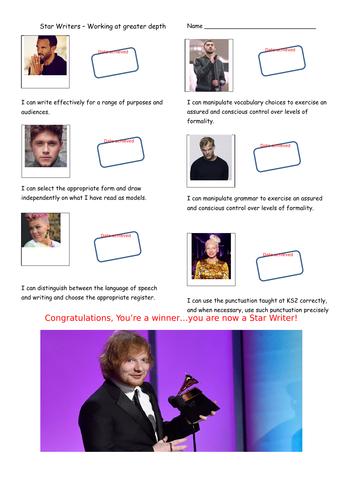 Pop Stars themed KS2 Writing Teacher Assessment Record Sheet - Working at Greater Depth.