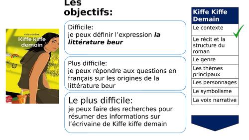 A-LEVEL FRENCH Kiffe Kiffe Demain - Le contexte et le récit (4 lessons PowerPoint)
