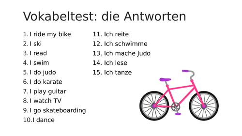 Middle school German resources: sports