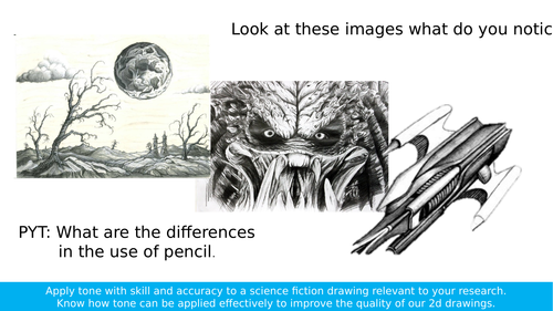 AQA Art and Design Three Dimensional Design Tonal Pencil Drawing Sci Fi Lesson