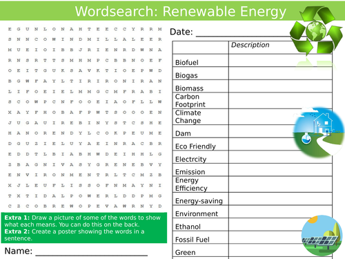 Renewable Energy Wordsearch Green Science Starter Keywords Activity KS3  GCSE Cover Lesson