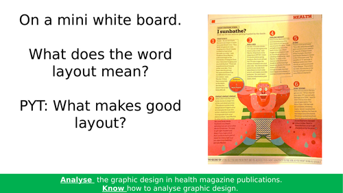AQA KS4 Art & Design Graphic Illustration. Magazine Page Layout Analysis.