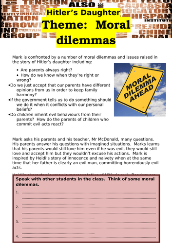 Hitlers Daughter Theme Moral Dilemmas By Waynewoods Teaching