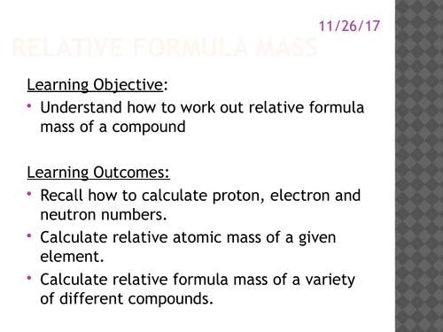 GCSE AQA Chemistry C4.1 Relative masses