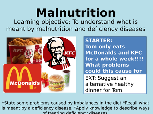 KS3/KS4 Lesson on Malnutrition and Disease