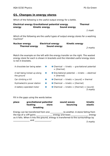 AQA GCSE PHYSICS P1 FULL REVISION RESOURCE