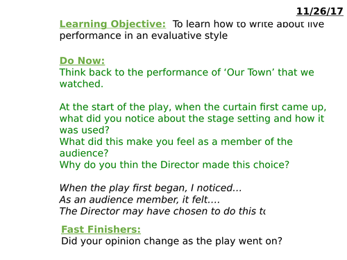 Edexcel Drama GCSE 2016 1-9 Exam Questions 9a and 9b - Lessons on how to analyse and evaluate
