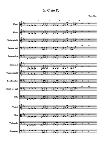 Terry Riley's in C transposed in D