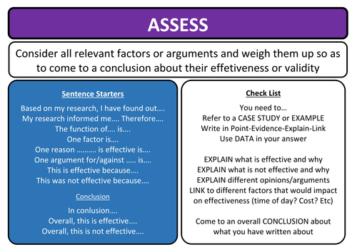 AQA question sentence starters