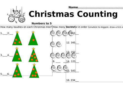 Year 1 Christmas Counting- 3 differentiated picture counting sheets. (Numbers up to 5,10 and 20)