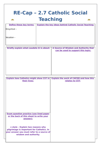 Edexcel 9-1 Catholic Practices Revision Worksheets