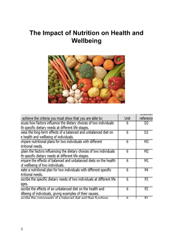 Unit 6 - The Impact of Nutrition Coursework Booklet