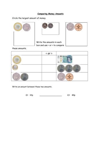 Comparing Money Amounts Year 2