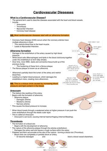 AQA - A Level - Cardiovascular Disease