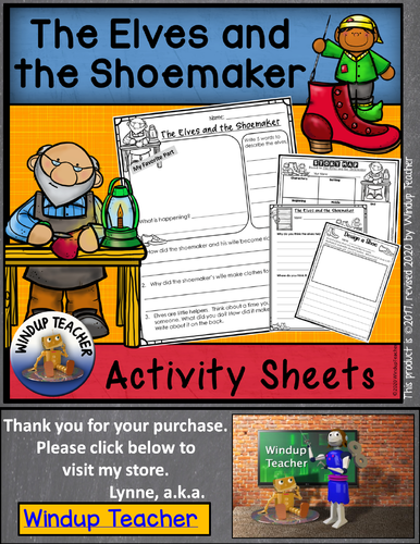 The Elves and the Shoemaker Activity Sheets